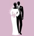 silhouettes newlyweds couple wearing wedding vector image vector image
