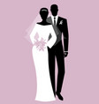silhouettes of newlyweds couple wearing wedding vector image vector image