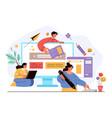 teamwork people workers characters working vector image vector image