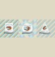 three colored labels with shrimp vector image