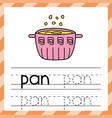 tracing worksheet with word - pan phonic vector image vector image