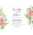 wedding floral modern invite invitation card desig vector image
