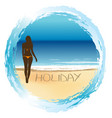 woman on the beach summer holiday concept vector image vector image