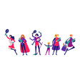women in superhero costumes do housework cleaning vector image vector image