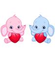 baby elephants holding hearts vector image