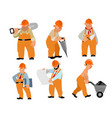 six builders set vector image