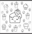 cute hand drawn desserts doodles design vector image