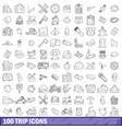 100 trip icons set outline style vector image vector image