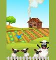 a simple farmland landscape vector image vector image