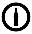 beer bottle black icon in circle isolated vector image