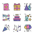 birthday celebration thin line icons set party vector image vector image