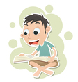boy sitting and reading vector image