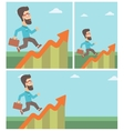 Businessman running along the growth graph vector image vector image