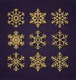 christmas golden glitter snowflakes set winter vector image vector image