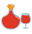cognac glass and bottle on white background vector image