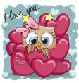 cute cartoon owl in hearts vector image vector image