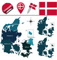 Denmark map with named divisions vector image vector image