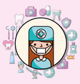 dentist girl portrait character occupation vector image vector image