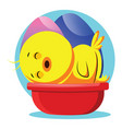 easter yellow chick sleeping web on white vector image vector image