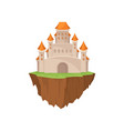 fairytale stone island castle on white background vector image vector image