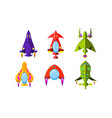 fantasy aircrafts set colorful airplanes vector image vector image