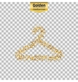 Gold glitter icon of hanger for clothes vector image
