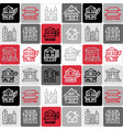 hand drawn icons set - architecture vector image