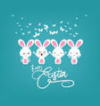 happy easter with bunny funny vector image vector image
