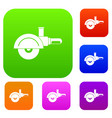 high speed cut off machine set color collection vector image vector image