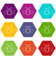 jar of bee honey icons set 9 vector image vector image