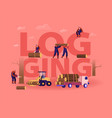 logging concept lumberjacks cutting trees and vector image