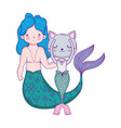 male mermaid and purrmaid fairytale characters vector image