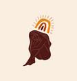 moon yoga boho girl pose meditation silhouette vector image vector image