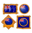 new zealand flag on round and square badges vector image vector image