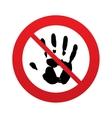 No Hand print sign icon Stop symbol vector image vector image
