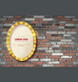 oval frame on brick wall background vector image vector image