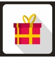 Pink gift box with yellow ribbon icon vector image vector image