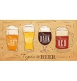 Poster types beer kraft vector image
