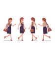 pretty female office employee walking running vector image vector image