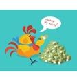 Rooster Bird Counts Money Cock Rich Businessman vector image vector image