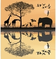 Savana with giraffes herons and elephant vector image vector image