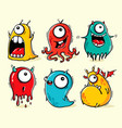 set isolated funny monsters vector image vector image