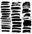 set of brush stroke black ink grunge brush vector image vector image