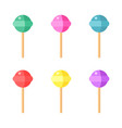 set of colorful lollipops on white background vector image