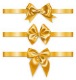 set of realistic golden ribbons with bows vector image vector image
