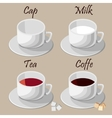 Set of white cups vector image vector image