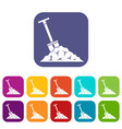 shovel in coal icons set vector image vector image