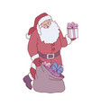 sketch santa claus presents boxes bag vector image vector image