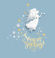 snow greeting card with angel vector image