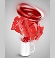strawberry yoghurtdrink in a cup realistic vector image vector image